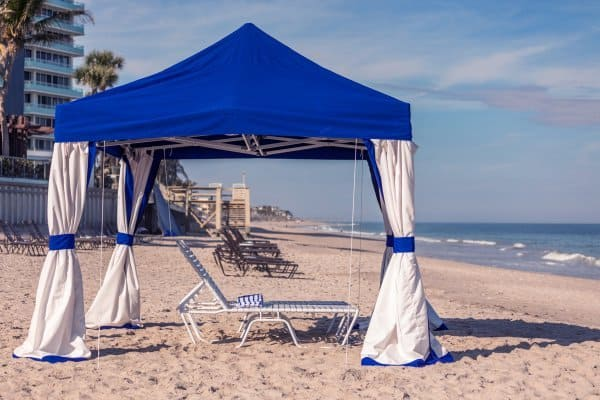 Beautiful beach cabana with beach chair set up on Vero Beach